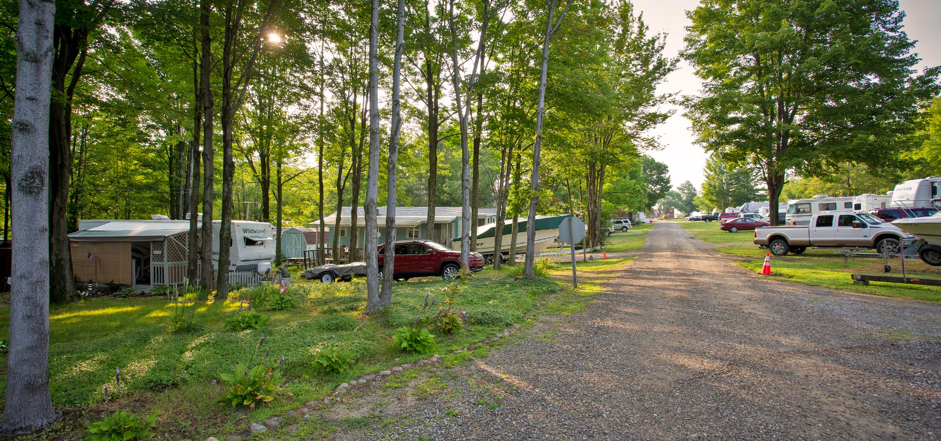 Row of Shady Campsites in the Spring